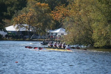 The Flyers take advantage of boat's new rudder to execute a sharp turn on the Charles River.