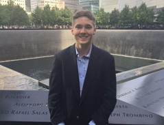 Chaminade student Brett Mulitz '16 stands in front of the World Trade Center memorial fountains.