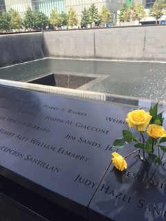 The fountains are made from the foundations of the original twin towers as a memorial for all those who died on 9/11
