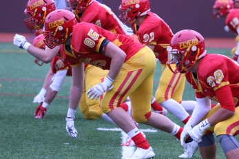 The Chaminade defense lines up to blitz the opposing quarterback.
