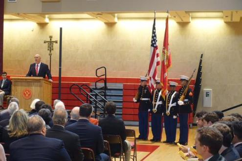 Alumni organization president, Gus Nuzzolese '76, speaks about the courage and sacrifice of the Gold Star Alumni.