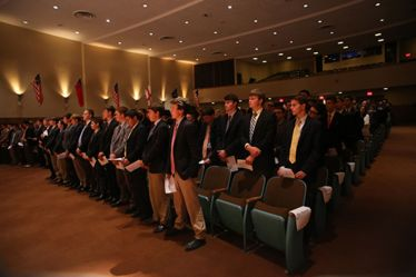 Sophomore, junior, and senior members of Sodality gather in Darby Auditorium for the Sodality Opening Prayer Service.