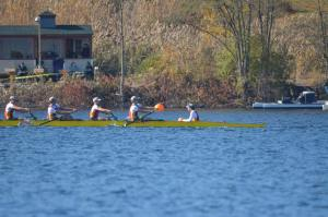 Chaminade's varsity eight boat pushes forward on the Head of the Fish Regatta course in Saratoga, New York.