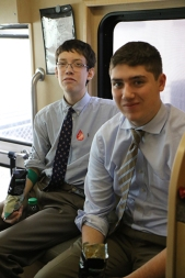 Jack Manzolillo '16 and Christian Gagnon '16 eat PopCorners chips to recuperate after giving blood.