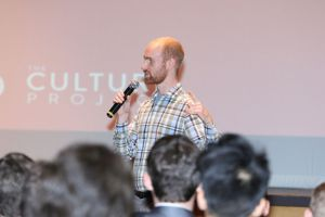 Nathan Maurer of the Culture Project International speaks to Chaminade's Sodalists.
