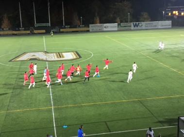 The Chaminade roster sprints onto the field in celebration of their recent NSCHSAA championship victory.