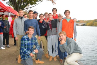 Senior members of the Chaminade crew team take a group photo while relaxing in preparation for their upcoming regatta.