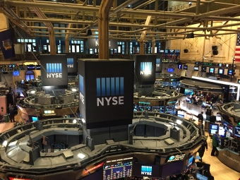 A view of the main trading floor of the New York Stock Exchange from a visitors balcony.