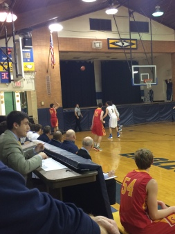 Quinn Suydam '16 takes a shot from the outside in hopes of getting a three-pointer.