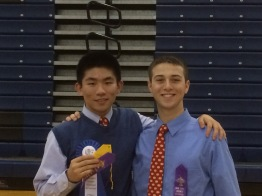 Vinny Sciortino '16 (l.) and Anthony Brites '16 (r.) proudly display their medals.