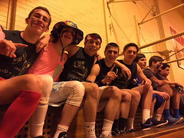 A group of juniors is all dressed up in costumes for the exhilarating Junior Dodgeball Night.