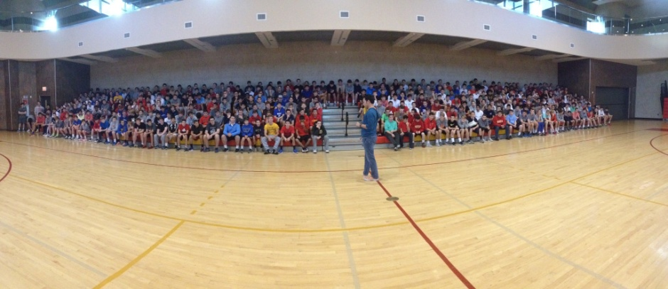 The Sophomore class sits on the AAC bleachers in preparation for Sophomore Spirit Day.
