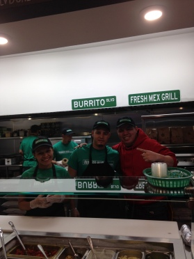 Some of the employees of Burrito Blvd. gather behind the counter for a mid-shift photo.