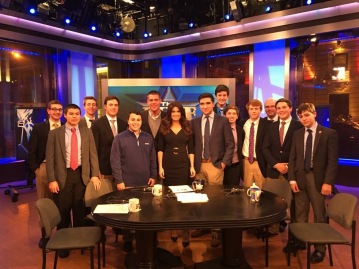 "Kimberly Guilfoyle of ""The Five"" takes a group picture with members of the Chaminade Speech and Debate Team"