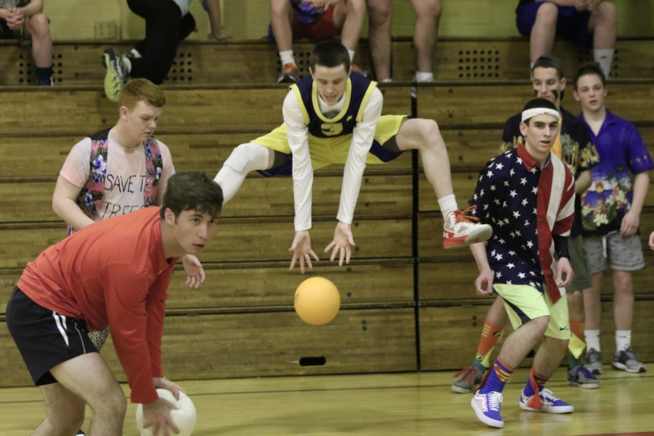 Eamon Tubridy lifts off above a dodgeball to keep the 3M Minions in the game.
