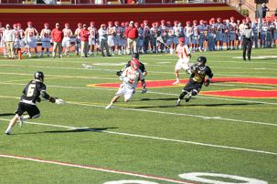Nick Flippelli '16 evades St. Anthony's skilled defense in an effort to recapture the game.