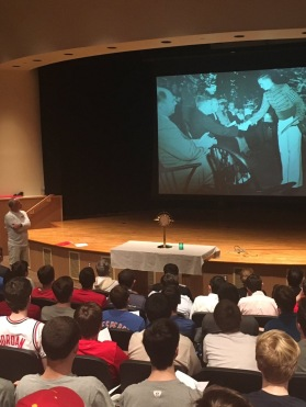 Mr. Robert Hazleton '82 speaks to the sophomore division about his father to demonstrate the strength of parental love.