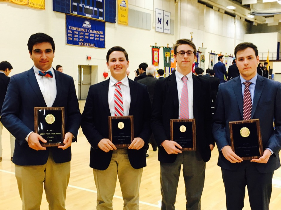 After four years of hard work, seniors Peter Charalambous, Anthony Sikorski, Rob Wines, and Brendan Owens receive awards placing them among the best debaters in New York state.