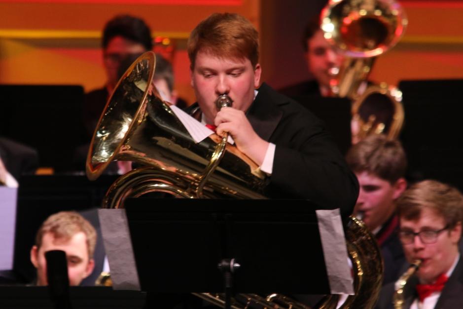 """Daniel Leno '17 performs a spectacular tuba solo during the piece """"Tuba Tiger Rag."""""""