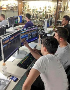 With the help of Chaminade's Bloomberg terminals, campers view the progress of their portfolios.