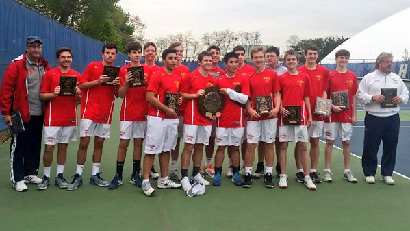After defeating St. Anthony's 7-0, the Varsity Tennis team is awarded its 3rd straight NSCHSAA title.