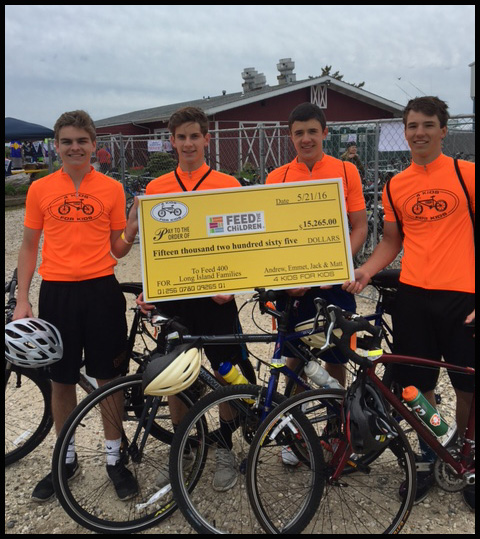 Emmet Chapey '17 and his friends received a check for $15,265 for riding their bikes to raise funds for the Feed the Children foundation.