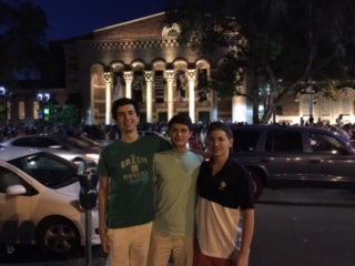 (l.-r.) Alex Caparelli '17, James Sorrentino '17, and Aidan Fitzgerald '18 explore Sacramento the night they arrive.