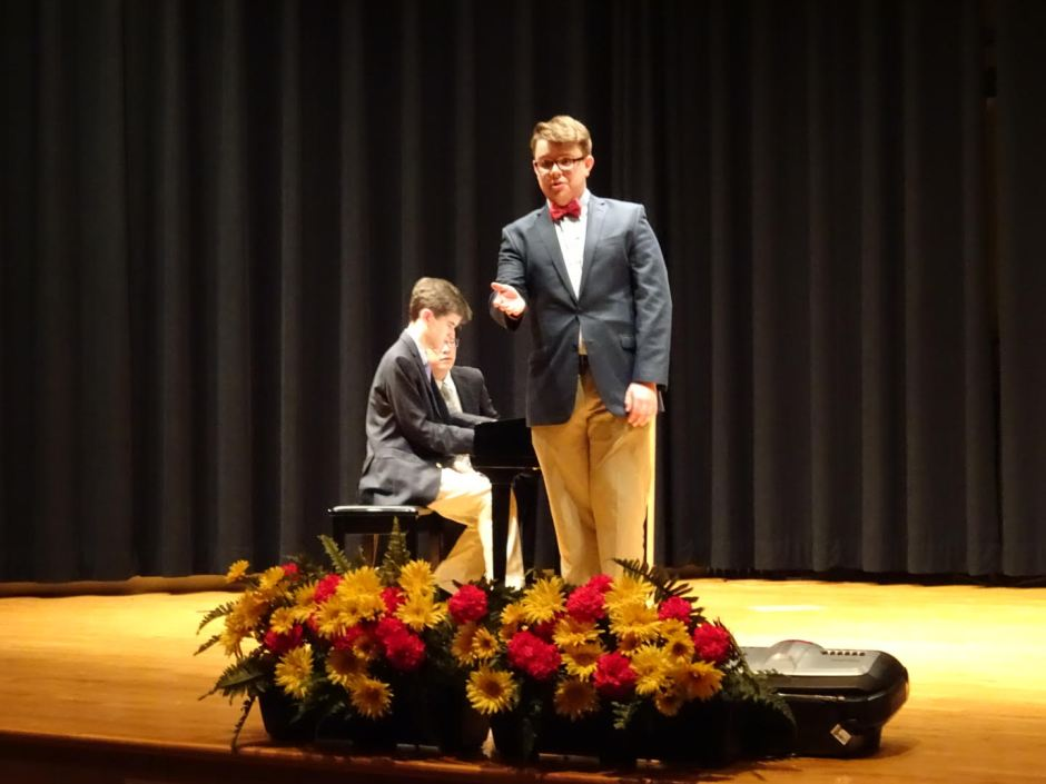 "Kevin McSorley '16 humorously delivers his rendition of ""When Words Fail."""
