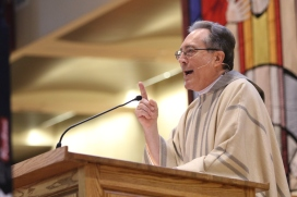 Fr. Manuel Cortes, S.M., Superior General of the Marianist Order, says the homily at mass for the entire Chaminade community.