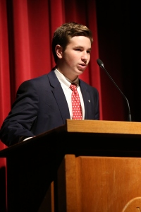 Aidan Fitzgerald '18 testifies to the importance of Sodality in his life in front of the Chaminade Sodalists.