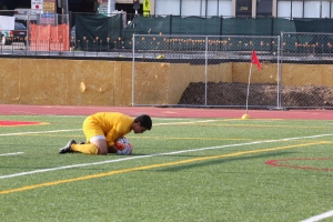 Yanni Rigos '17 makes a save during the contest against St. Anthony's.