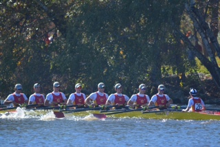 The Chaminade boat keeps pace during the Head of the Charles.