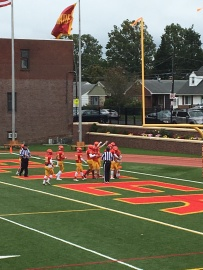 The Flyers celebrate after scoring a touchdown.