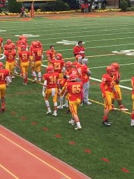 Chaminade players rest after a successful drive.