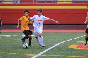 Justin Caccavo '20 steals the ball away from his opponent.