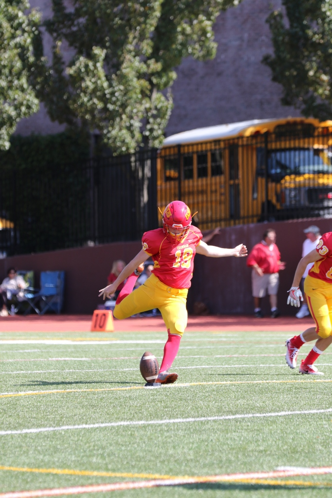 Placekicker Liam Dvorak '17 was a stable force for the Flyers special teams unit, successfully converting four field goal attempts in Chaminade's victory over Fordham Prep.