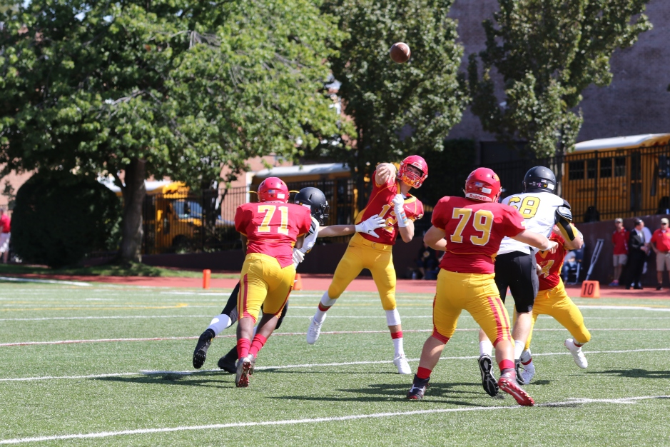 Quarterback Matt Chmil '17 fires a pass near the far sideline in the Flyers' week two defeat versus St. Anthony's.