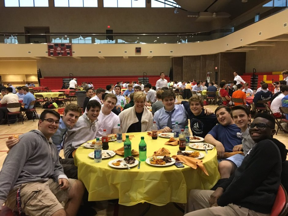 Seniors enjoy a steak dinner with Mrs. Zehnter.