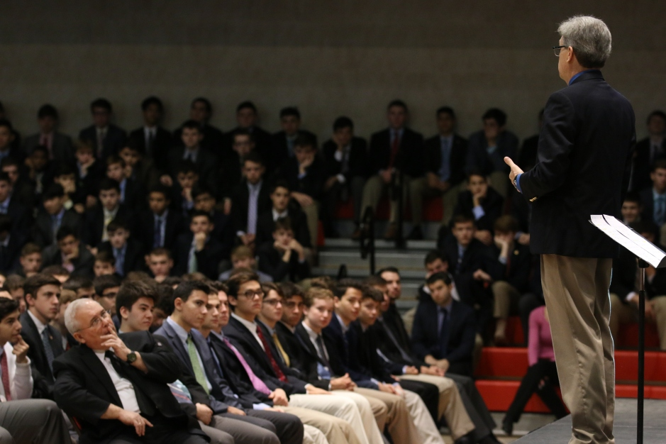 Chaminade students and faculty attentively listen to Mr. Klusendorf's presentation.
