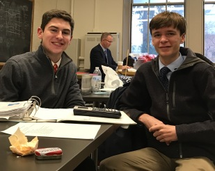Juniors Nick Plante and Peter Camporeale have something to smile about after their team placed 13th against nationally ranked competition.