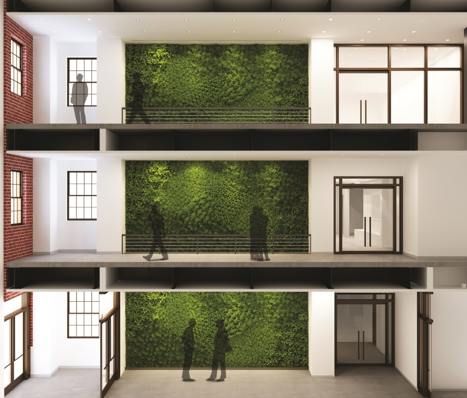 "The S.T.E.M. building will feature an open space atrium that will give the interior a distinct visual appeal. In the background lies a ""green wall,"" a collection of preserved mosses and ferns customarily chosen."