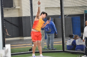 Chaminade thrower Francesco Insingo '20 releases the shot.