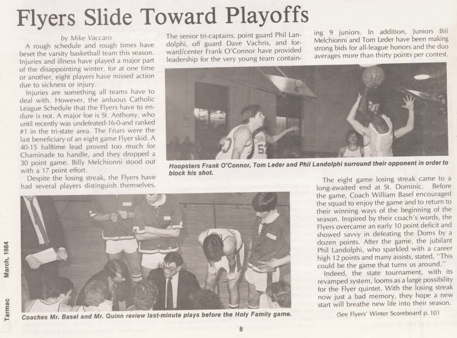 In his junior year, Mike Vaccaro reported on the varsity basketball team.
