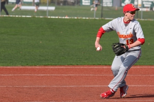 Baruch Baseball Commit Liam O'Gara fields a ground ball and fires to fires for the putout.