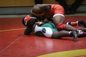 Scranton Wrestling Commit Tomi Toles works for a pin during his match.